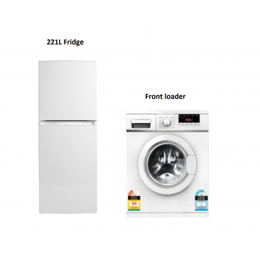 6kg Front Load Washing Machine + 221L Fridge (White) Package