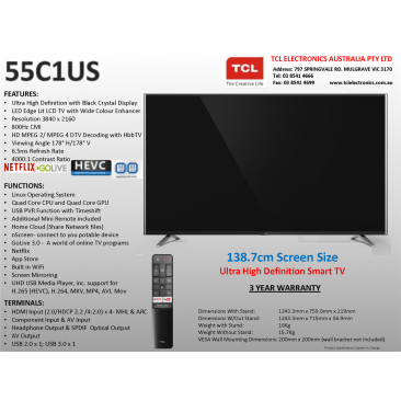 TCL 55C1US 55 Inch 138 7cm UHD Smart TV, Black Crystal