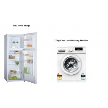 7.5kg Front Load Washing Machine + 366L Fridge (White) Package
