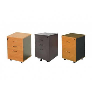 Rapid Worker Mobile Pedestal - 2-4 Drawers, Beech / Cherry / Grey