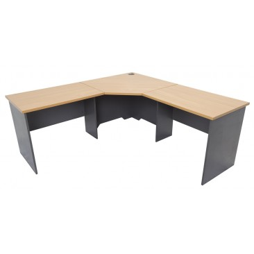 Rapid Worker Corner Workstation RWCWS Series - Beech / Cherry / Grey, 3 Pieces