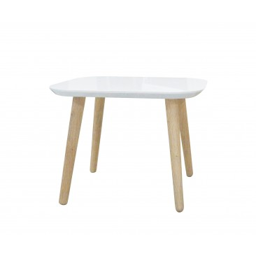 Bondi End Table - White Top with nature legs