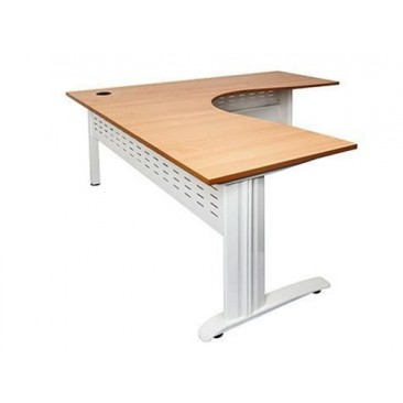 Rapid RSCWS Corner Workstation Table - Silver/White/Black Span Legs, White / Beech Top