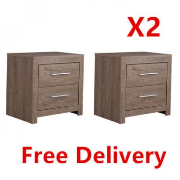 Free Delivery! 2*  Jason Wooden 2 Drawer Night Stand/Bedside Table-Oak