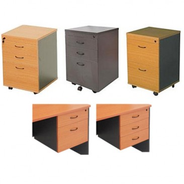 Rapid Worker Fixed Pedestal Series - 2/3 Drawers, Beech / Cherry / Grey