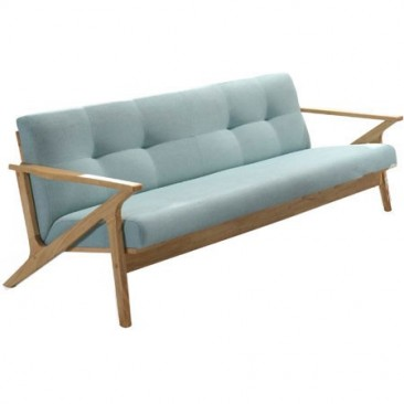 Bismark 3 Seater Lounge with Solid Wooden Frame - MINT/GREY SEAT