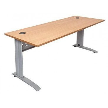 Rapid Span Desk  With Silver/White/Black Span Leg - Beech / White Top