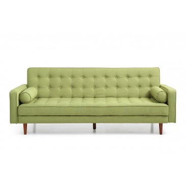 Sofia 3 Seater Fabric Futon Sofa Bed - Green/Grey/Grey With White Piping