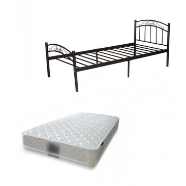 Bed Package, Cleveland Metal Bed(Black/White) +  Mattress Luna 168, Single/King Single/Double/Queen