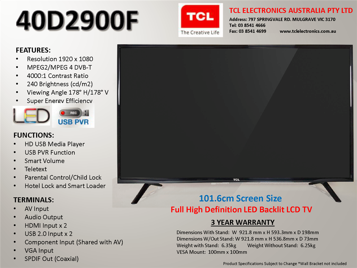 TCL 40D2900F 101CM FULL HD LED TELEVISION , FHD
