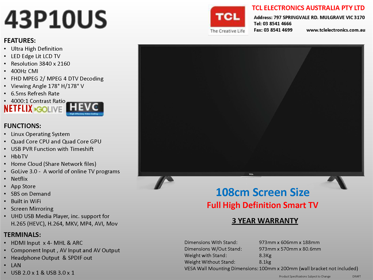 TCL 43P10US 43