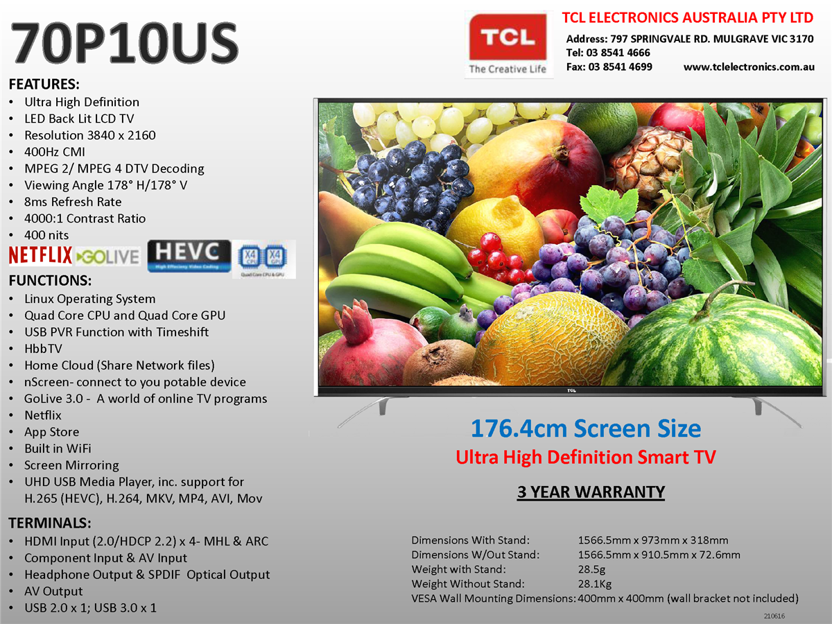 TCL 70P10US 70
