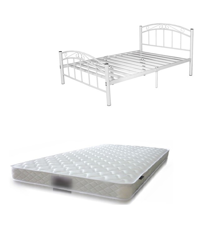 Bed Package Cleveland Metal Bed Black White Mattress