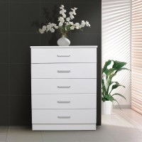 Redfern 5 Drawer Wooden Tallboy/Chest-White/Black