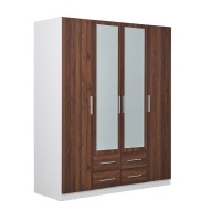Zetland Wardrobe 4 Door 4 Drawer with Mirror - Walnut