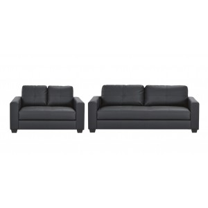 Priceworth 2 and 3 Seater PU Leather Sofa Set - Black, Comfortable & Cheap & Fast Delivery