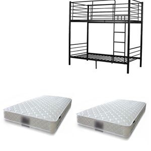BUNK BED PACKAGE, BUNK BED (BLACK/WHITE) + 2* MATTRESS LUNA 168