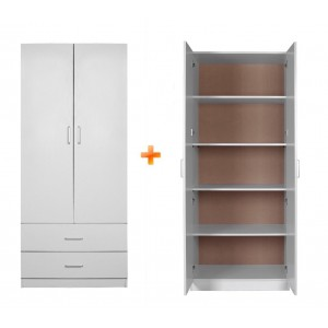 Redfern 4 Door Wardrobe Package 4 Speical - 2 door 2 drawers + 2 door Pantry, BLACK/WHITE