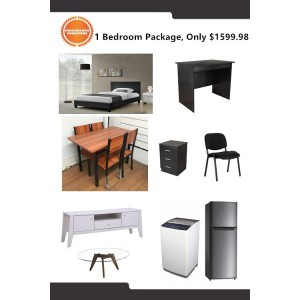 Standard 1 Bedroom Package, Bed, Mattress, Desk, Chair, TV Unit, Coffee Table, Dining Set, Washing Machine, Fridge