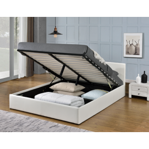 Monica Gas Lift PU Leather Double/Queen Bed - White/Black