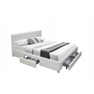 Julie PU Leather Double/Queen Bed with Drawers - Black/White