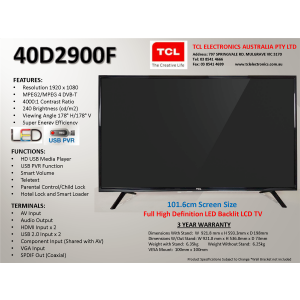 TCL 40D2900F 101CM FULL HD LED TELEVISION