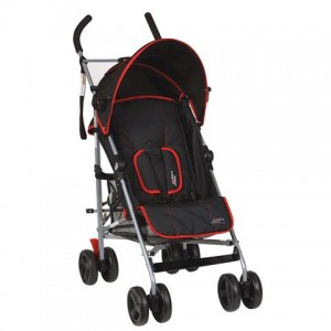 Newborn stroller in black with red trim