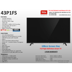 TCL 43P1FS 43 Inch 107cm Smart Full HD LED LCD TV