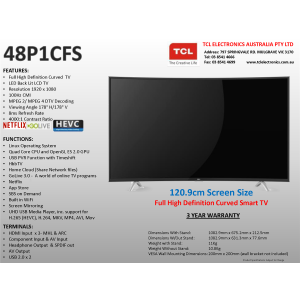 TCL 48P1CFS 48 inch Full HD LED TV, FHD HbbTV
