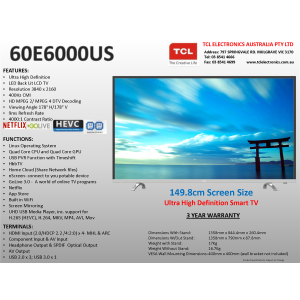 "TCL 60E6000US 60""(150cm) UHD LED LCD Smart TV"