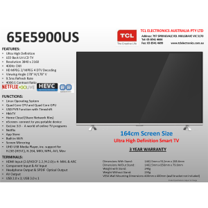 "TCL 65E5900US 65""(164cm) UHD LED LCD Smart TV"