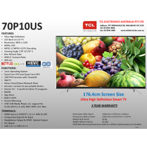 "TCL 70P10US 70""(176cm) UHD LED LCD Smart TV, UHD TV"
