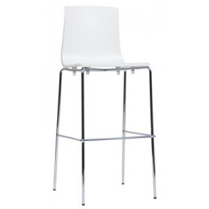 HEQSEZ STOOL ALICE 4 LEG CHROME 800 White