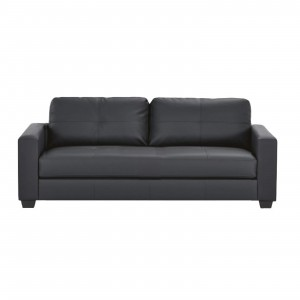 HEQS 3 Seater PU Leather Sofa - Black, Comfortable & Cheap & Fast Delivery