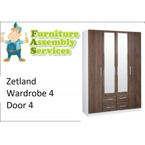 Zetland Wardrobe 4 Door 4 Drawer with Mirror Assembly Service