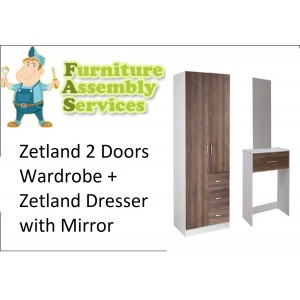 Zetland Storage Package-Zetland 2 Doors Wardrobe + Zetland Dresser with Mirror Assembly Service