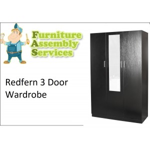 Redfern 3 Doors Combo Wardrobe With Mirror Assembly Service