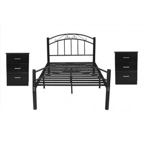 Double Bed & Side Table Package, Cleveland Double Bed with 2*Bedside Table, Black/White
