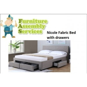 Nicole Fabric Double/Queen Bed with drawers Assembly Service