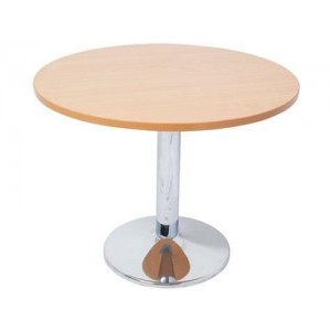 Rapid Chrome Base Round Table - 900 or 1200 Diameter Top, Beech / Cherry / White