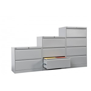 Rapid Lateral Filing Cabinet GLF 2-4 Drawers, Steel Storage, Silver/White