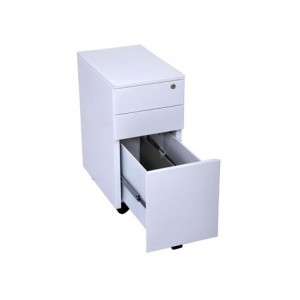 Rapid Slimline 3 Drawer Mobile Pedestal GSP3, White