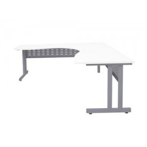Rapid RCLCWS Corner Workstation Table -  Silver CLeg, White / Beech