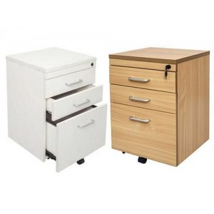 Rapid Span Mobile Pedestal SPMP3 - 3 Drawers, Beech / White, Lockable
