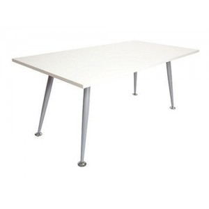 Rapid Span Meeting Table RST - Brushed silver frame, White / Beech Top