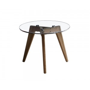 Sophia Round End Table/Side Table, 500mm Diameter Tempered Glass