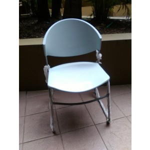 Assembled Olivo Sled Base Plastic Seat Stacking Chairs - Grey