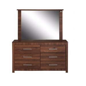Priceworth 6 Drawer Lowboy/Dresser with Mirror-Dark Oak/Walnut