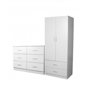 Redfern Storage Package - 2 Door 2 Drawer + 6 Drawer Chest, Black/White