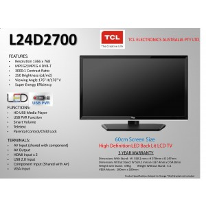 "TCL L24D2700 HD LED LCD TV 24"", USB PVR,HDMI*2, USB*1"
